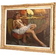 "Superb charming painting by Richard Durando-Togo ( 1910-), ""ballerina posing"", Argentinian master, worldwide known. High value painting. 50% REDUCED FOR ONE WEEK"