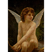 Great romantic painting, cupid in the woods, by Percy Tarrant ( 1855-1934), from around 1920.