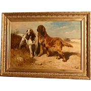 Superb museum quality 19thC hunting dog painting by Henry Schouten ( 1864-1927). Two setters posing in the dunes. Top quality!! Very rare! One of a pair! 1 WEEK REDUCED!
