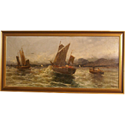 Superb end 19thC seascape painting with boats by Austrian master Georg Fischhof ( 1859-1914). Highly listed. Low price!!