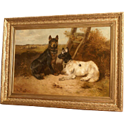 Superb museum quality 19thC dog painting by Henry Schouten ( 1864-1927). Two dogs posing in a landscape. Top quality!! Very rare! One of a pair!! 1 WEEK REDUCED!!!