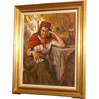 """Superb charming painting by Richard Durando-Togo ( 1910-), """"the fortune teller"""", Argentinian master, worldwide known. High value painting"""