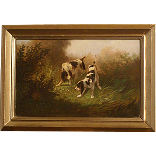 Superb 19th C hunting dog scene painting, two pointers on the hunt, by highly listed German master F. G. Engler ( 1877-1905). Very rare!