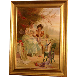 "Great romantic painting, by European master Pierre Delporte ( 1884-...), signed and dated 1921. "" The love letter and Cupid"""