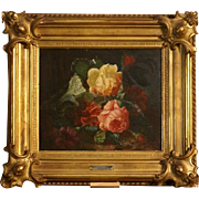 Superb 1880 flower still life with roses painting by Jean-Baptiste Robie ( 1821-1910). Highly listed. Museum quality. Low price!