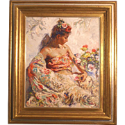Superb impressionistic original oil painting by highly listed Spanish master Jose ROYO ( 1941-). 40K painting. Magnificent!!