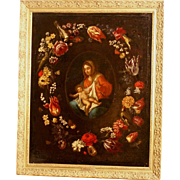 Superb 17thC flemish painting, Madonna and Holy Child surrounded by a garland of flowers, A Daniels. Museum quality!