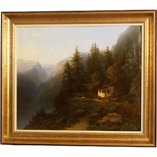 Superb Alpine 19thC mountain landscape painting by JF Roffiaen ( 1820-1898). Museum quality. Most probably a Swiss landscape.