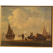 Great 17thc Dutch beach seascape painting on oak panel, seascape with sailing ships, monogrammed PW.