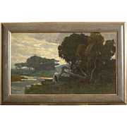 Great end 19thC landscape painting by highly listed Dutch master Bernard Schregel ( 1870-1956). Museum quality! 1 WEEK REDUCED!