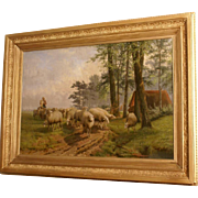 Suberp 1894 painting by JL Van leemputten( 1865-1948). A shepherdess with her Sheep flock in landscape. Museum quality! Highly listed! 1 WEEK REDUCED!