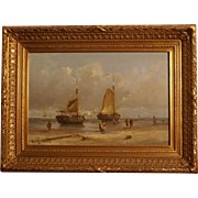 Superb beach scene with boats, by highly listed Dutch master Hendrik Vader. Top marine painting. Museum quality! 1 WEEK REDUCED!