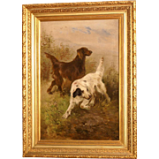 Superb museum quality 19thC hunting dog painting by Henry Schouten ( 1864-1927). Two setters on the hunt. Top quality!! Very rare! One of a pair!