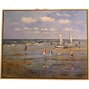 Superb impressionistic painting, a beach scene by Dutch Master AC Van Noort ( 1914-2003). Highly listed and strongly rising in value. 1 WEEK REDUCED! SUMMER SALE!