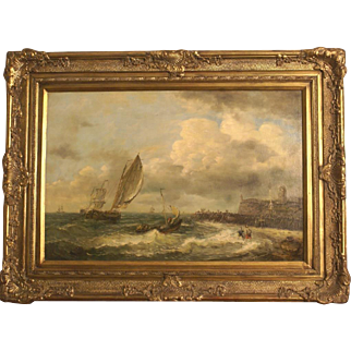 Great marine painting by highly listed European Master J Pauwels ( 1903-1983). Highly rising in value! Top quality painting! Masterwork!