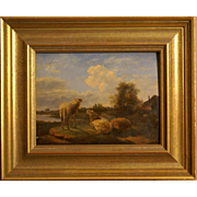 Superb 17thC Dutch painting on oak panel, sheep in a landscape, Masterfully painted! Museum quality!! A real sleeper!! Very low price!