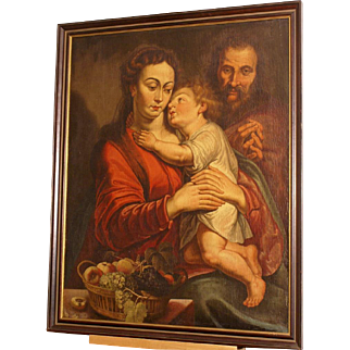 Superb very early 17thC Italian Master painting, Madonna and Holy Child with St John and fruitbasket. Stunning Museum quality!