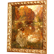 """Superb European impressionistic 1910 painting by J Posenaer ( 1876-1935). """"Lady feeding swans in the park"""". Top museum quality!"""