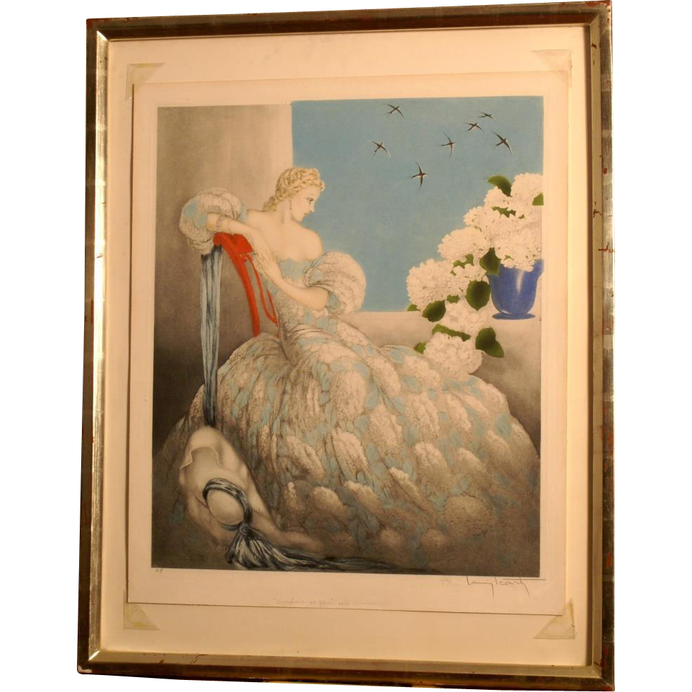 "Superb original 1936 etching by Louis Icart ( 1888-1950). Signed, titled, dated, artist proof, "" symphonie en bleue"". Superb state! Highly valuable!"