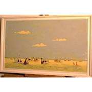 Great impressionistic Dutch beach scene painting by listed European master. Oil on panel, signed.