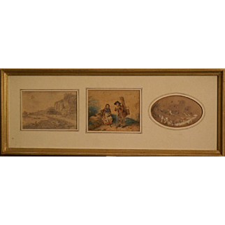 Great collection of 3 drawing painting miniatures by Jules Dupré ( 1811-1889), a highly listed French Barbizon painter. Unique! Museum quality!