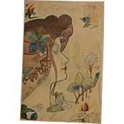 2 superb art nouveau 1910 paintings/watercolors by H Privat Livemont ( 1861-1936). Top museum quality! High value!