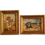 2 Superb impressionistic French beach scenes by highly listed European Master R Boudry. Oil on panel. Museum quality!