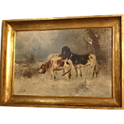 Superb museum quality 19thC hunting dog painting by Henry Schouten ( 1864-1927). Three setters on the hunt in a winter landscape. Top quality!! Very rare!