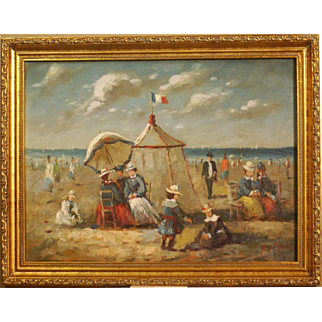 Superb impressionistic French summer beach scene painting by highly listed French Master Pierre Stefani ( 1938-). Museum quality!
