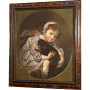 Superb 19thC charming portrait painting of a girl with her dog. By highly listed European master. Magnificent! Top museum quality.