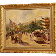 """Superb impressionistic French/Spanish painting, A view of the Film Festival de Cannes, French Riviera, with the """" Stars and Stripes"""", by Joan Marti Aragones ( 1936-2009)"""