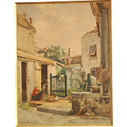 """Superb 1853 painting by Jean Baptiste Van Moer ( 1819-1884), """" resting at the courtyard, watching the pigeons"""". Highly listed! Museum quality! Low price!"""