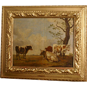 Superb 17th Dutch painting, oil on panel, cows in a landscape. Signed and dated. Paulus Potter. Museum  High quality!