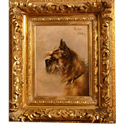 Superb 1900 dog portrait painting by Piet Van Engelen ( 1863-1924). Superb museum quality! Highly listed Master!