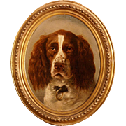 Superb 1872 French dog portrait painting, museum quality, by the highly listed master V.I.B Gerard. Very rare!!! Portrait of a hunting dog,a pointer.
