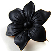 Victorian French Jet Mourning Flower Brooch