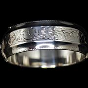 Vintage Signed Etched Sterling Bangle Bracelet