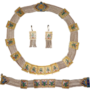 Vintage Turkish Byzantine Style Sterling Gold Gilt and Enamel Parure