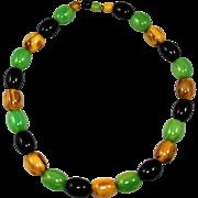 Vintage Butterscotch/Green/Black Bead Bakelite Necklace