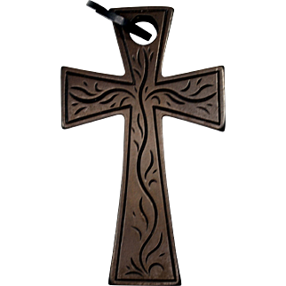 Antique Victorian Mourning Vulcanite Cross Pendant