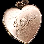Antique British 9ct Edwardian Rose Gold Heart Locket Inscribed