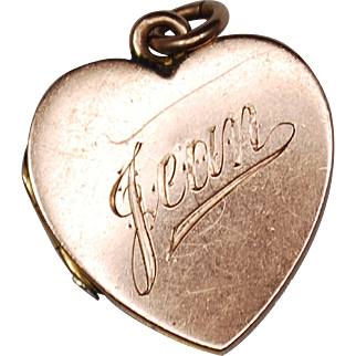 Antique British 9ct Edwardian Rose Gold Heart Locket Inscribed