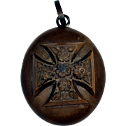 Victorian Vulcanite Locket with Maltese Cross / Forget-Me-Nots
