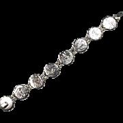 Vintage Sterling Japanese Etched Panel Bracelet