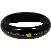 Art Deco Plastic Bangle Bracelet; Black with Rhinestones and Beading