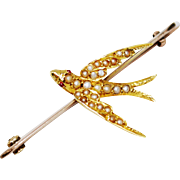 9ct/15ct Gold Seed Pearl Victorian Swallow Bird Brooch