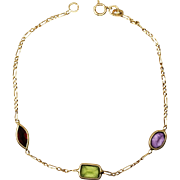 14K Gold Chain Link Gemstone Bracelet