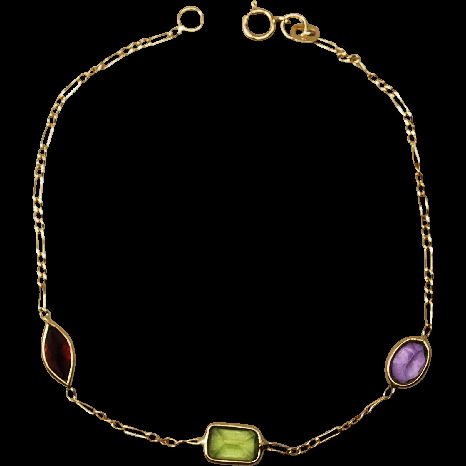 14K Gold Chain Link Gemstone Bracelet from tresorsaimes on ...