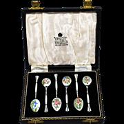 British Sterling & Enamel Floral Demitasse Spoons