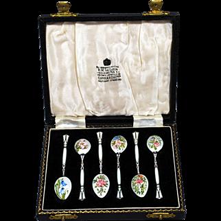 British Art Deco Sterling & Enamel Floral Demitasse Spoons